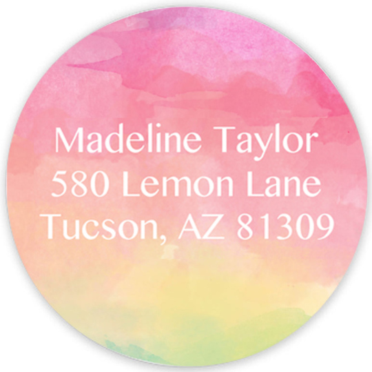 Rainbow Watercolor Round Address Labels