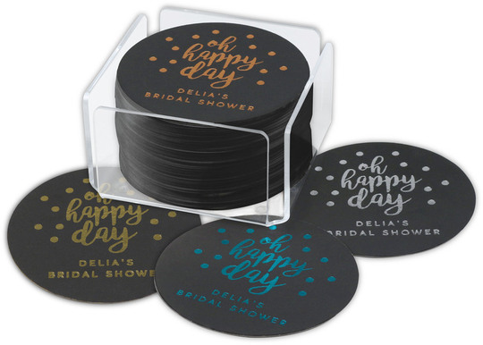 Personalized Black Confetti Round Coasters