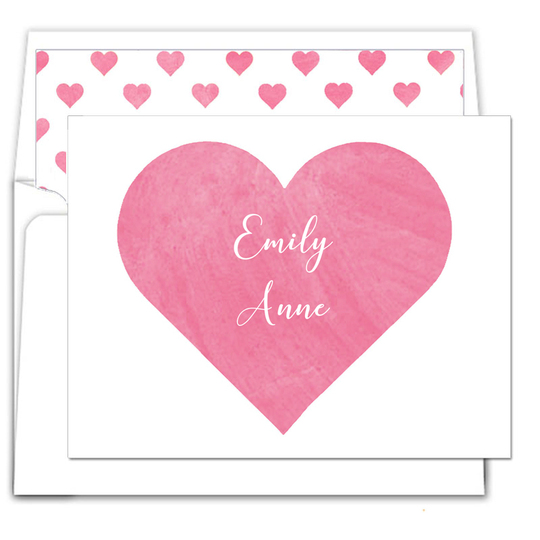 Pink Heart Watercolor Folded Note Cards