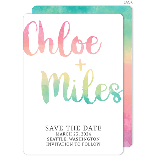 Rainbow Watercolor Save The Date Cards