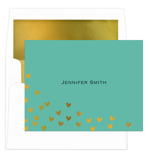 Teal Floating Gold Foil Hearts Foldover Note Cards with Lined Envelopes