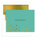 Teal Floating Gold Foil Hearts Foldover Note Cards with Lined Envelopes Image 1 of 3