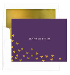Floating Gold Foil Hearts Folded Note Cards with Lined Envelopes