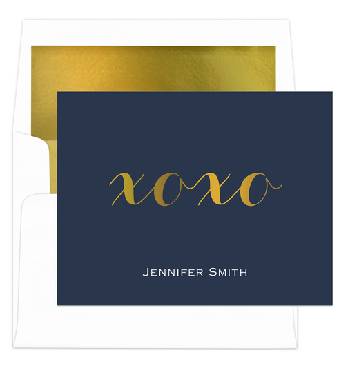 Navy Hugs & Kisses Gold Foil Foldover Note Cards with Lined Envelopes