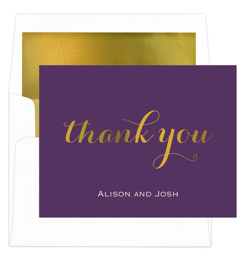 Purple Thank You Foil Stamped Folded Note Cards with Lined Envelopes