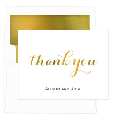 Thank You Foil Stamped Folded Note Cards with Lined Envelopes