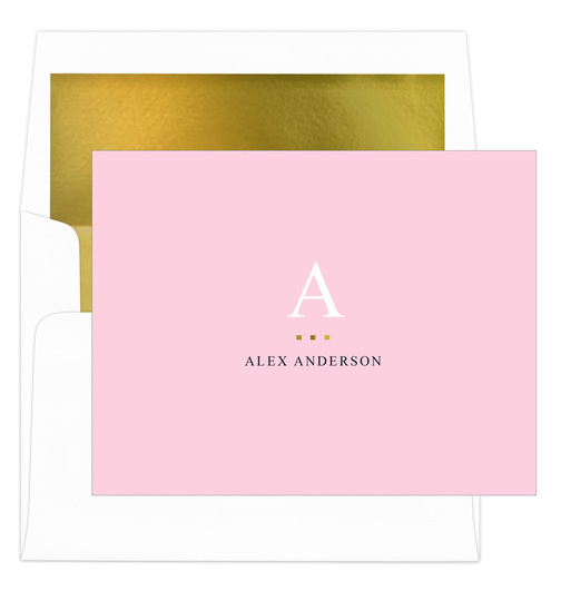 Pink Initial Gold Indicator Foldover Note Cards with Lined Envelopes