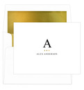 White Initial Gold Indicator Foldover Note Cards<br> with Lined Envelopes