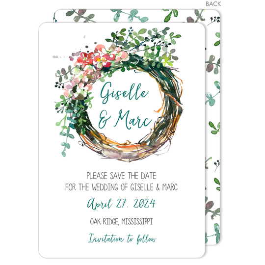 Peony Wreath Save The Date Cards