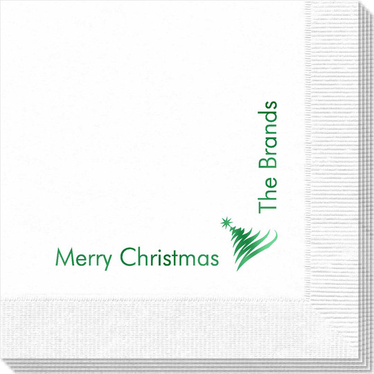 Corner Text with Artistic Christmas Tree Napkins