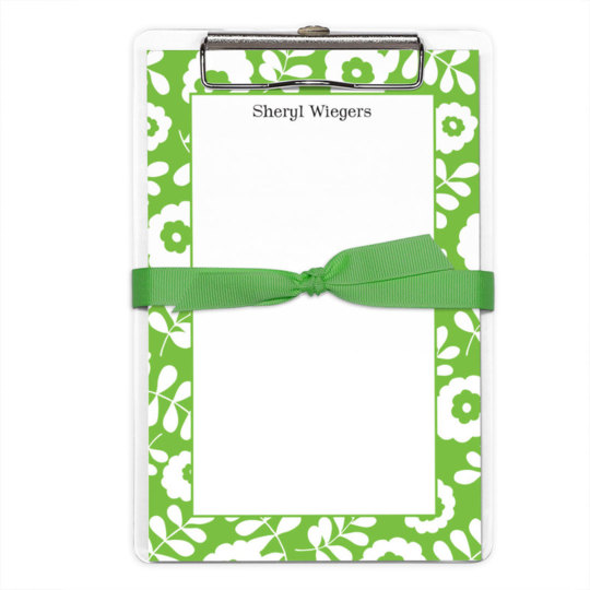 Kelly Floral Border Notepads with Clipboard