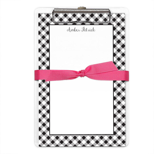 Black Gingham Border Notepads with Clipboard