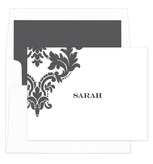 Grey Damask Scroll Foldover Note Cards