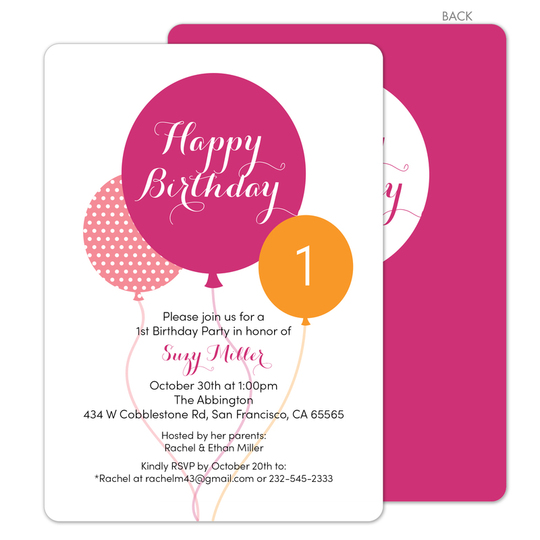 PPD IN SST45177D Pink Birthday Balloons Invitations