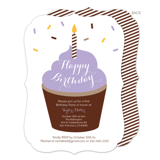 Purple Frosting Birthday Cupcake Invitations