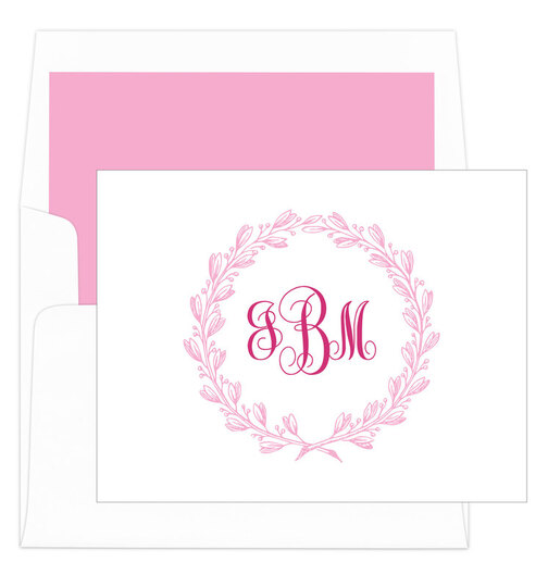 Pink Wreath Foldover Note Cards