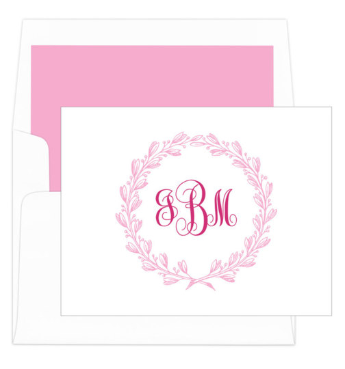 Pink Wreath Folded Note Cards