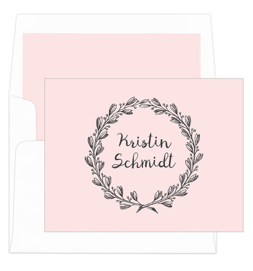 Pink and Grey Wreath Foldover Note Cards