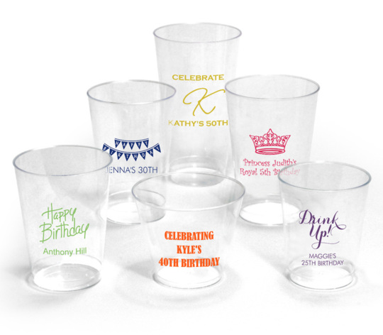 Personalized Clear Plastic Cups for Birthdays