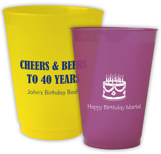 Personalized Colored Frosted Cups for Birthdays