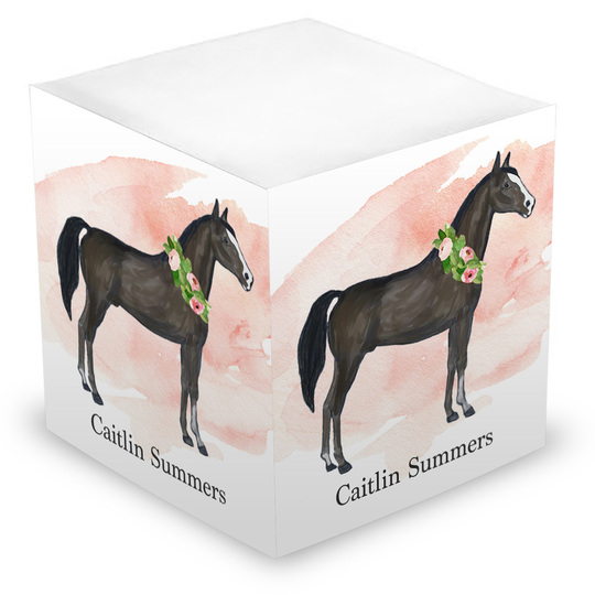 Pink Swash Horse Sticky Memo Cube