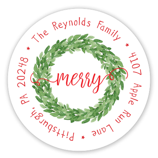 Merry Holiday Wreath Round Address Labels