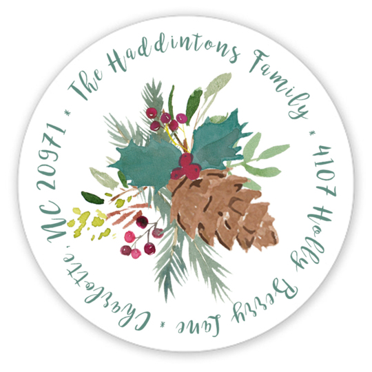 Teal Pine Cone Spray Round Address Labels