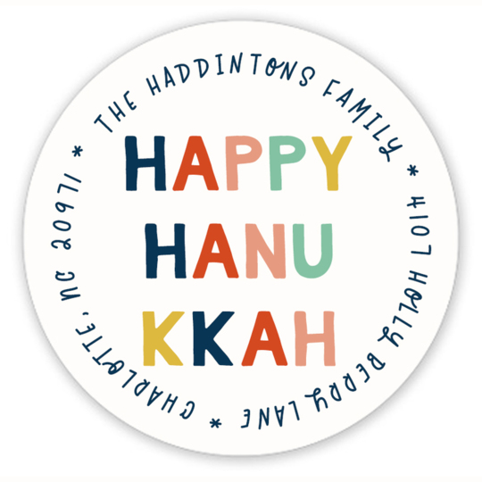 Colorful Happy Hanukkah Round Address Labels
