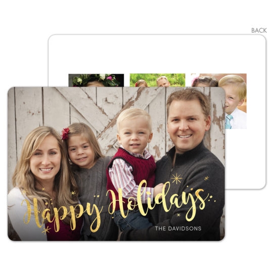 Happy Holidays Starburst Gold Foil Holiday Photo Cards