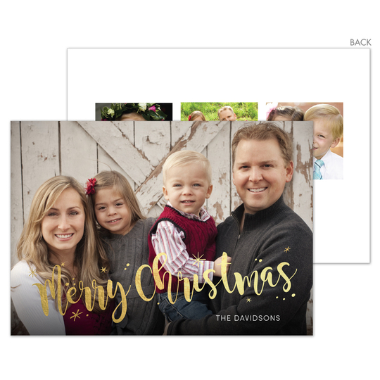 Merry Christmas Starburst Gold Foil Holiday Photo Cards