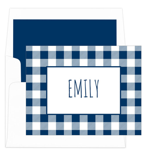 Navy Gingham Folded Note Cards