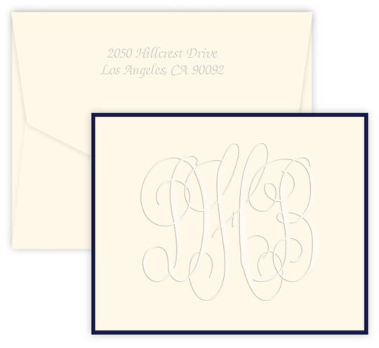 Henley Grand Monogram Embossed Border Folded Note Cards
