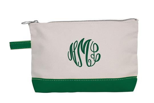 Personalized Emerald Trimmed Cosmetic Bag