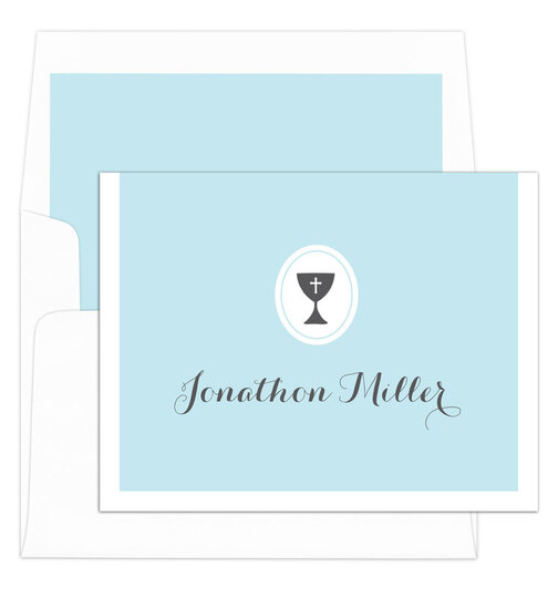 Light Blue Chalice Foldover Note Cards