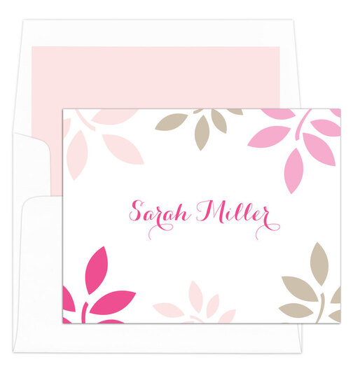 Pink and Tan Botanical Leaves Folded Note Cards