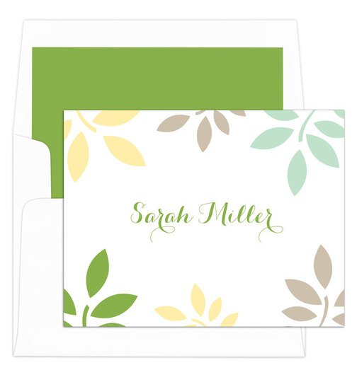 Green and Yellow Botanical Leaves Foldover Note Cards