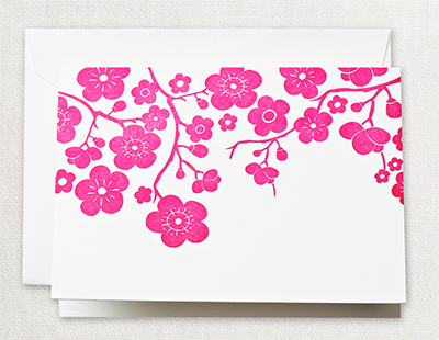 Letterpress Plum Blossom Boxed Folded Note Cards