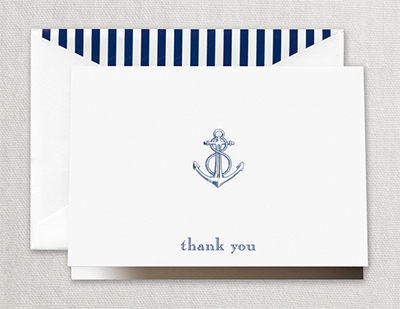 Engraved Anchor Thank You Boxed Folded Note Cards