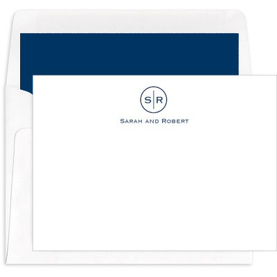 Circle Initials Flat Note Cards