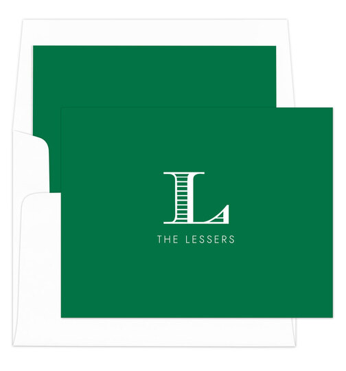 Green Striped Initial Folded Note Cards