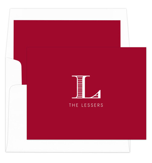 Red Striped Initial Foldover Note Cards