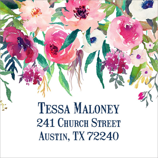Shades of Pink Square Address Labels