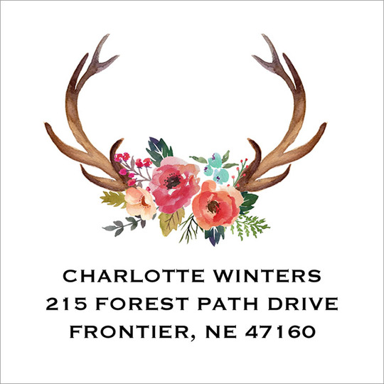 White Decorated Antler Square Address Labels