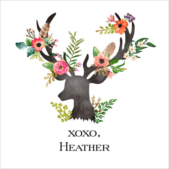 Floral Decorated Deer Square Gift Stickers