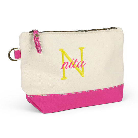 Nantucket Cosmetic Bag with Hot Pink Trim