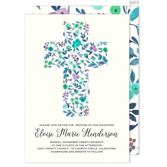 Blue Cross of Buds Baptism Invitations