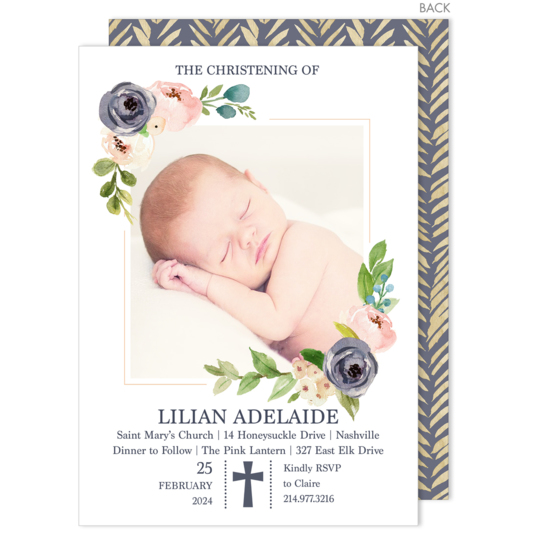 Gray Floral Corner with Cross Photo Invitations