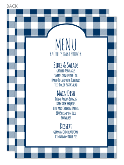 Navy Gingham Menu Cards