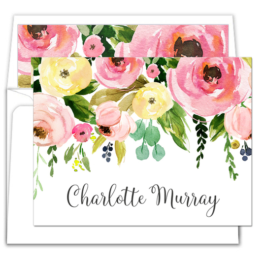 Spring Peonies Folded Note Cards