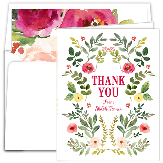 Garden Vines Vertical Thank You Note Cards